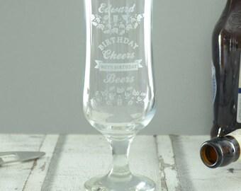 Birthday Cheers Personalised Beer Glass