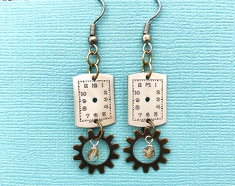 One of a Kind Watch Part + Gear Earrings, Upcycled Repurposed Jewelry, Industrial Jewelry, Steam Punk Jewelry, Vintage Retro Style Earrings