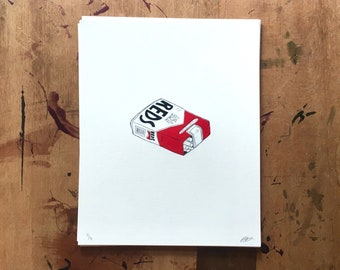 reds, soft pack // screen print