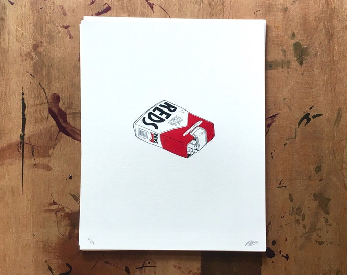 Featured listing image: reds, soft pack // screen print