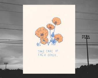 take care // riso print