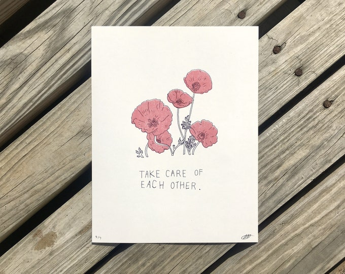 Featured listing image: take care // riso print