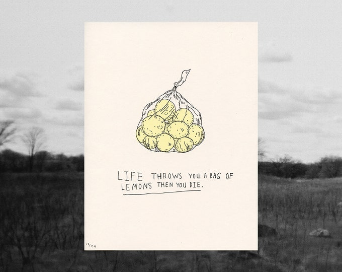 Featured listing image: lemons // riso print