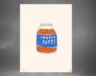 cheese puffs // riso print