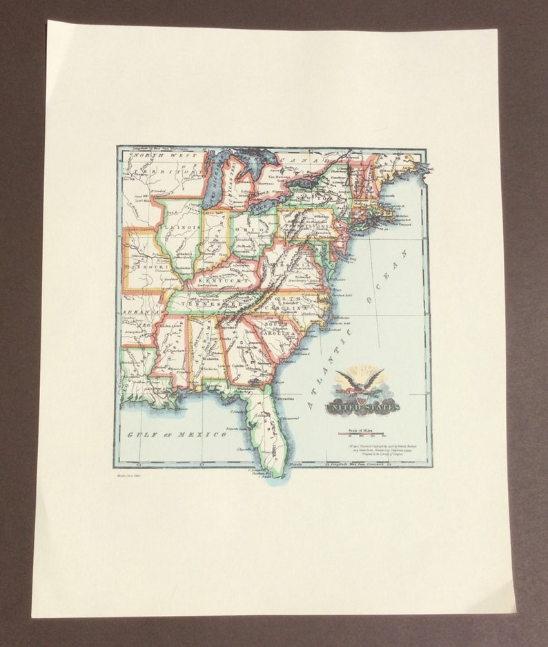 United States Map 1820 Etsy - Us-map-in-1820
