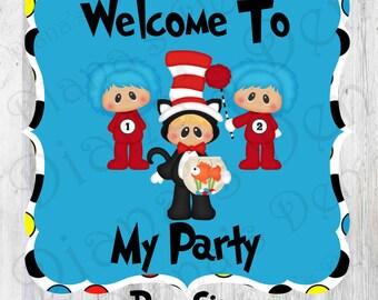 Dr Seuss Door Sign/Dr Seuss Sign/Dr Seuss Party/Dr Seuss Birthday/Dr Seuss Theme/Dr Seuss Baby Shower/Cat In The Hat Sign/Dr Seuss Decor
