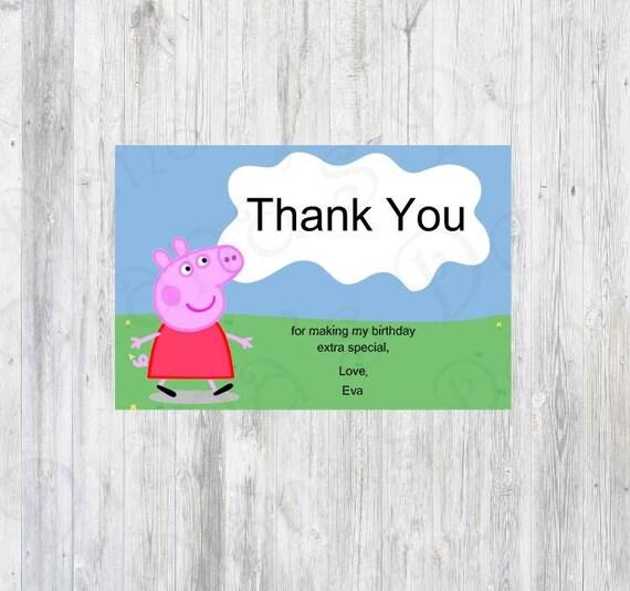 Peppa Pig Thank You Card Peppa Pig Invitation Peppa Pig Etsy