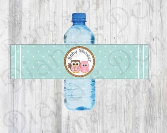 Owl Baby Shower Water Bottle Labels/Baby Shower Party/First Birthday/Owl/Owl Party/Baby Shower Wraps