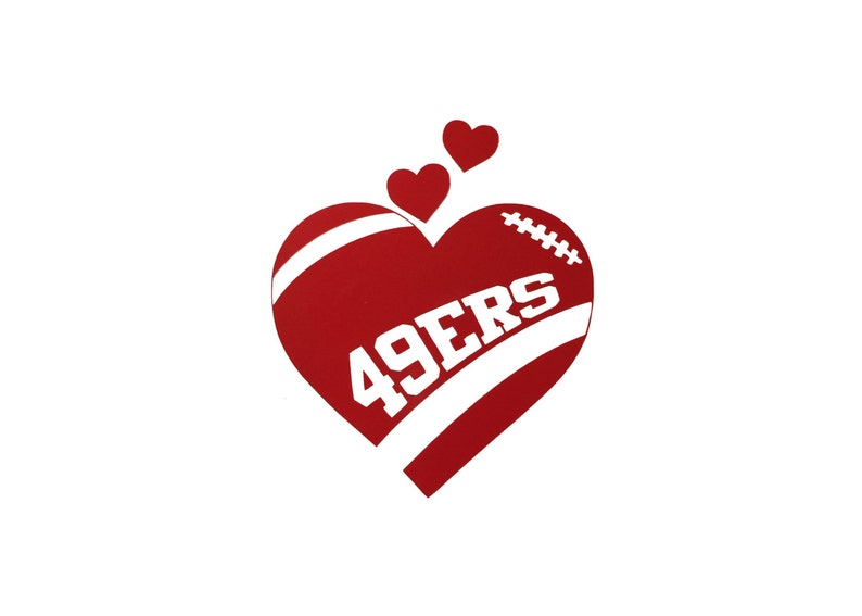 SF San Francisco 49ers Football Heart vinyl car decal    b608ce4ae
