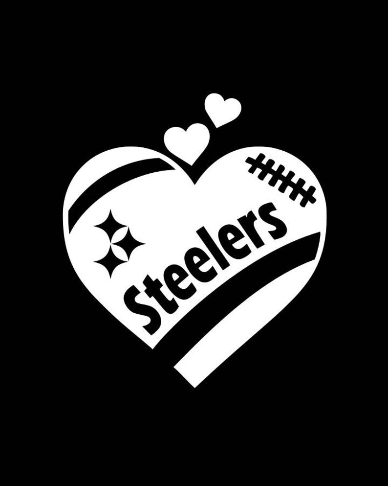 3f7293df Pittsburgh Steelers Football Heart Vinyl Car Decal / Sticker - Small