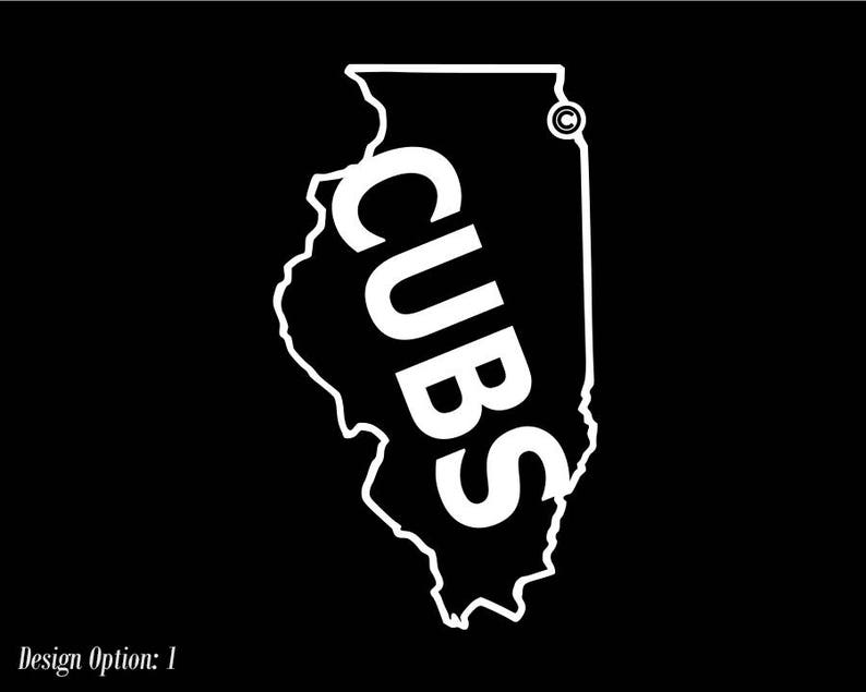 9570acc2b Chicago Cubs Illinois Map Logo Vinyl Decal Car Window / | Etsy