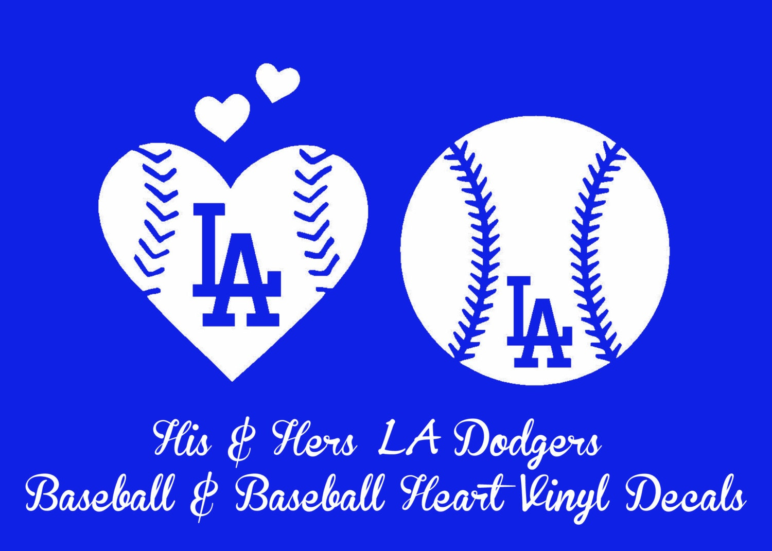 His Hers La Dodgers Baseball And Baseball Heart Vinyl Decal Etsy