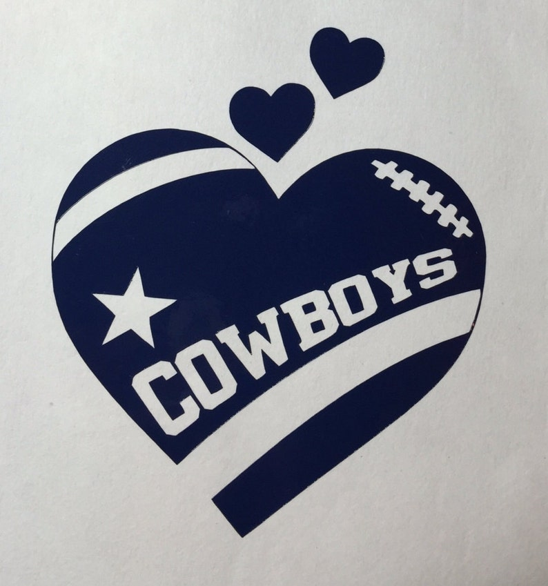 1e777154 Dallas Cowboys Football Heart Vinyl Decal - Bumper Sticker - Window Decal -  Computer Decal - Window Cling also available!