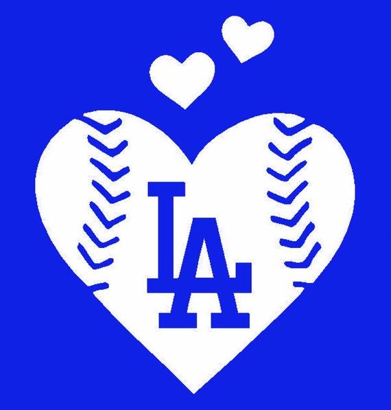 La Dodgers Baseball Heart Vinyl Decal Window Computer Decal Etsy