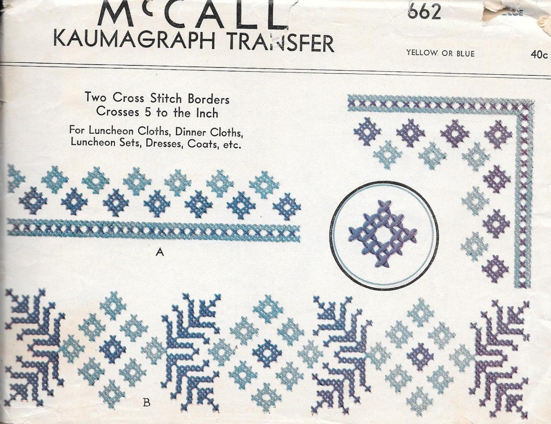 Vintage 1930s McCall Kaumagraph transferencia patrón bordado | Etsy