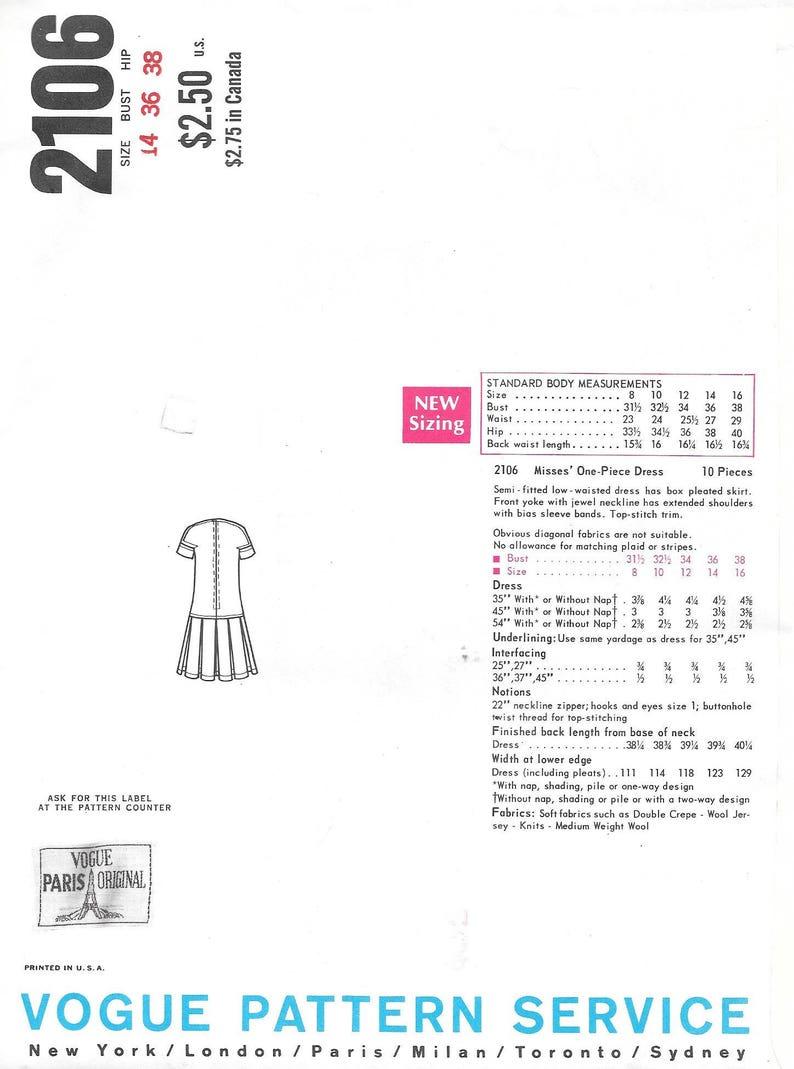 Vintage 1960s Vogue Paris Original Pattern 2106 Pierre Cardin Misses/' One-Piece Dress size 14 bust 36 hip 38 uncut FF with label