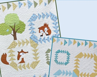 Fox in a Box, Baby Quilt Pattern with Applique and Non-applique version included. PDF DOWNLOAD.