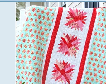 """Mums For Melissa, quilt pattern, 64"""" x 70"""" Throw Size. PRINT VERSION."""