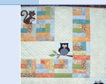 One Big Cabin, Baby Quilt Pattern with woodland critters (Owl, Raccoon, Squirrel) Non-applique version included. PDF VERSION.