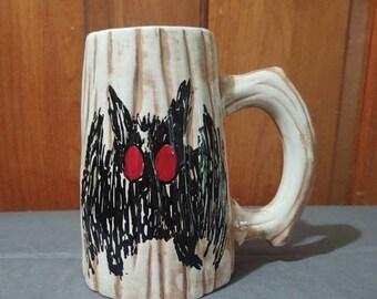 Mothman Wood Grained Mug, Cryptozoology/Cryptid Mug