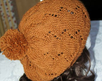 Hand knitted brown slouchy lace patterned hat by Liz