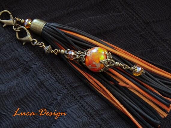 lederquaste 17cm jaspis orange tassel echtes leder quaste. Black Bedroom Furniture Sets. Home Design Ideas