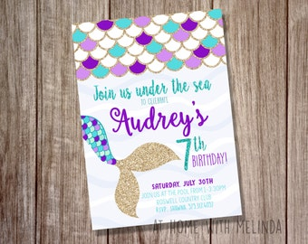 Mermaid Birthday Invitation Party Under The Sea Purple And Teal Girls DIGITAL FILE ONLY