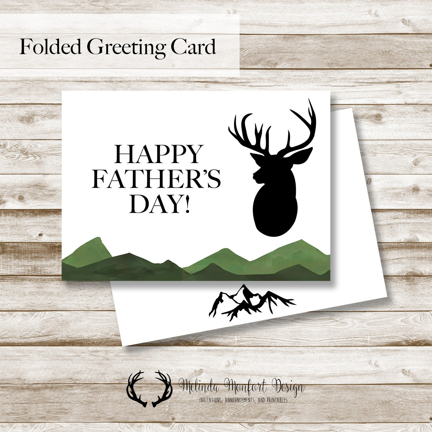 Deer Fathers Day Card Printable Greeting Cards Etsy