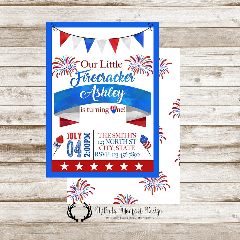 July 4th Birthday Invitation America Independence Day