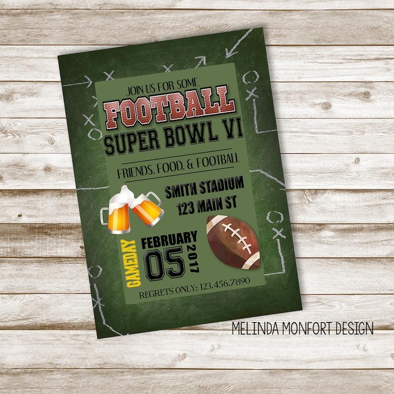 Super Bowl Party Invitation Football Invite Football Party Etsy