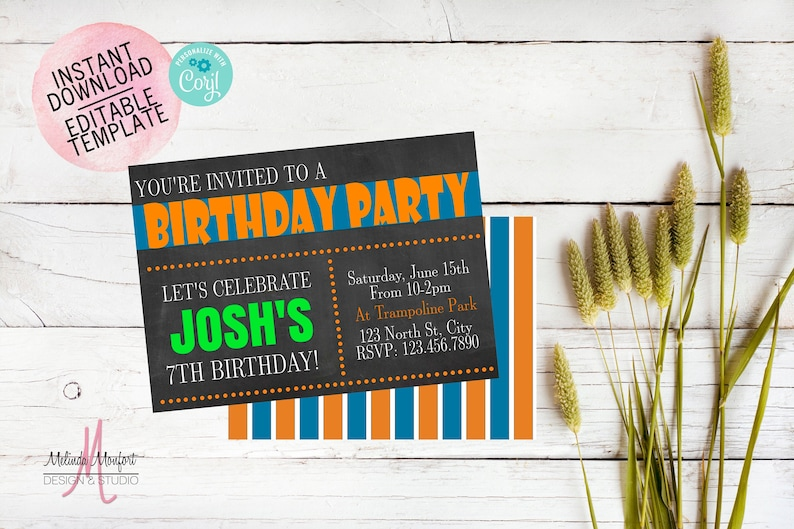 Boys Birthday Invitation Boys Young Boys Birthday Orange And Blue Birthday Editable File Instant Download