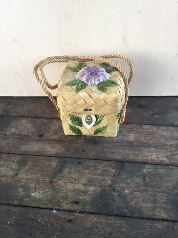 Vintage/Handmade/Woven Wood Wicker Cane  Bag/Brigh