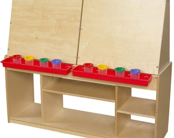 Easel, Kidu0027s Art Easel / Art Center For Four With Red Trays And Storage For Art  Supplies