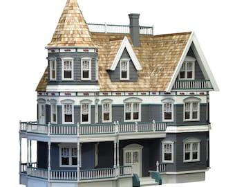 Dollhouse Kit Victoria S Farmhouse Unfinished Dollhouse Etsy