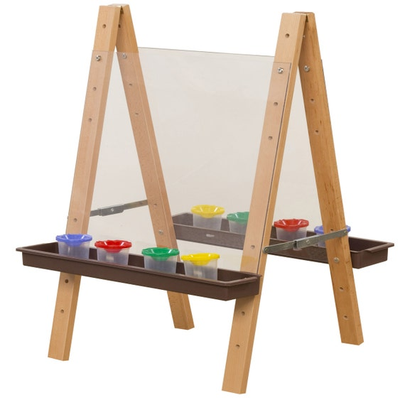 Easel Double Sided Art Easel For Toddlers With Acrylic Art Surface And Brown Trays