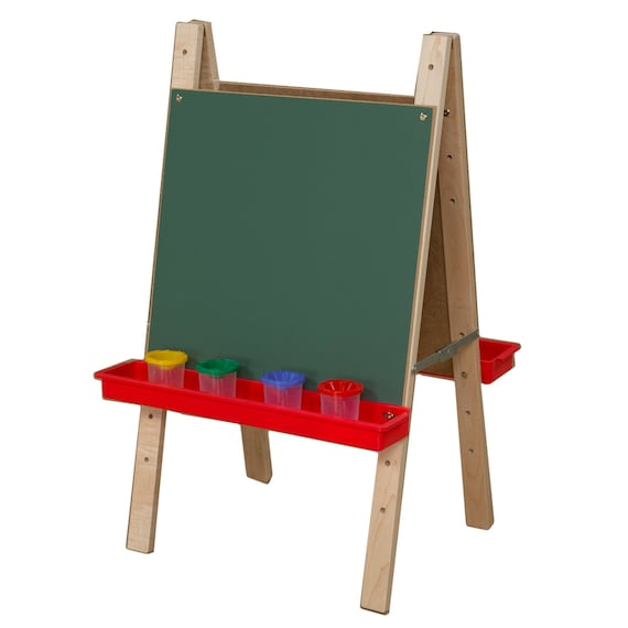 Easel Chalkboard Easel Double Sided Art Easel For Toddlers With Chalkboard Art Surface And Red Trays