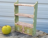 Kitchen spice rack, 1930s , vintage antique, Pink and green painted mini shelf, Doll shelf, Country primitive, Cottagecore