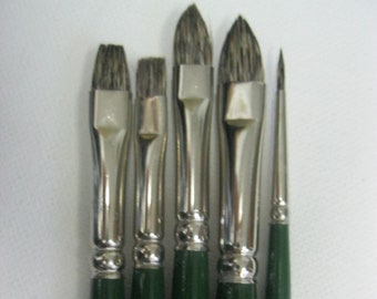 5 Pcs Russian Black Sable known as Russian fitch hair High Quality Artist Oil Brushes  Made in Germany