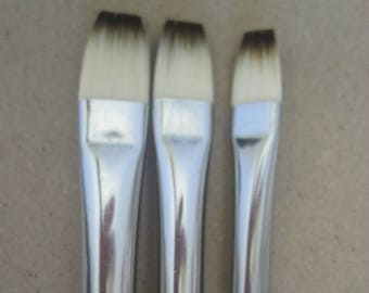 Set of 3-pcs Synthetic Artists Brushes #2-4-6 for Oil / Acrylic long handle