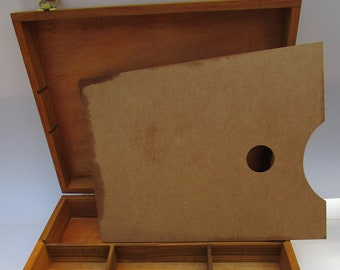 New Stained Artist Painting Sketch Box with wooden palette