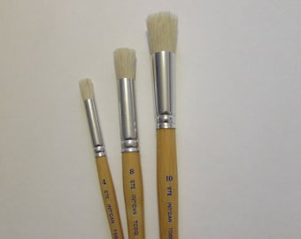 3 pcs - Stencil Brushes #4-8-10 white bristle short wooden handle