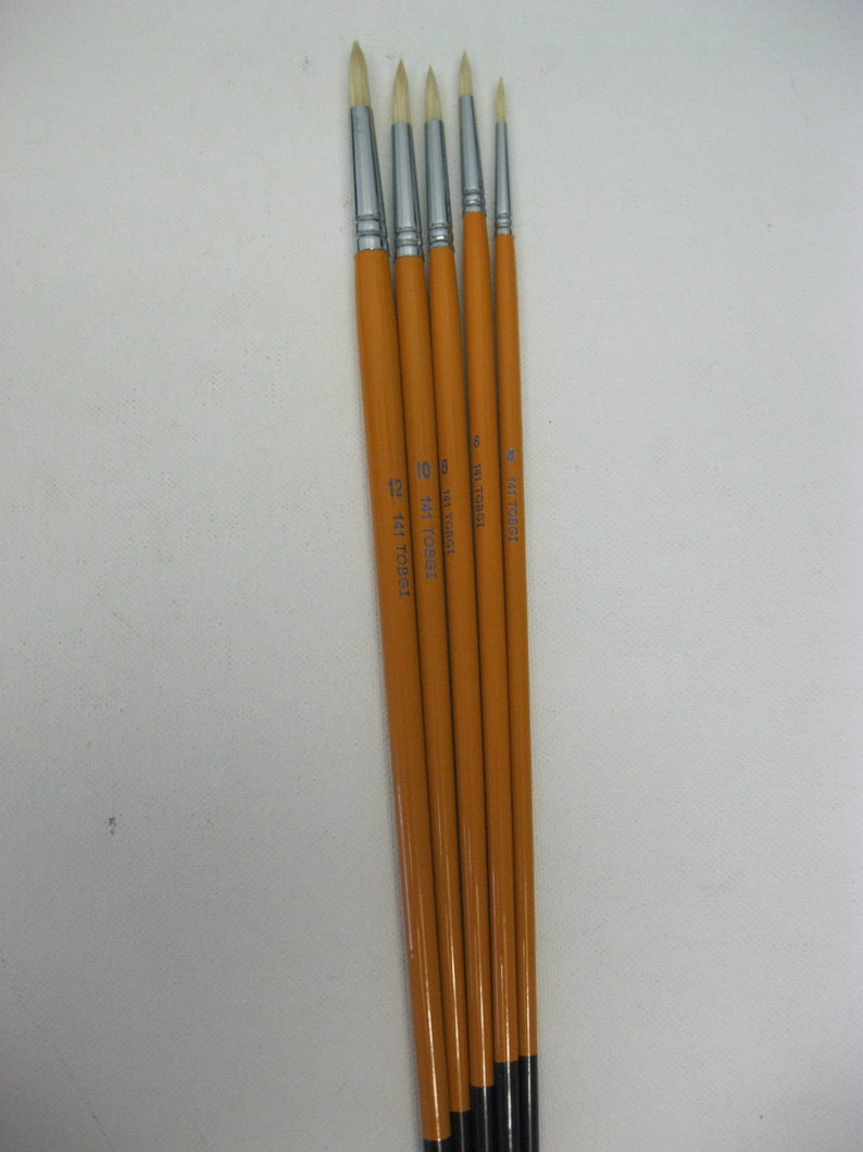 Artist Quality Round White Bristle hair long handle  #4-6-8-10-12  Oil--Acrylic paint and more! 5