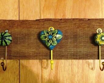 Barnwood and Ceramic Hooks...key/hat/coat or leash holder