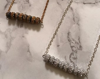 Sparkle Bar Necklace- Glitzy Holiday Necklace- Gold- Silver