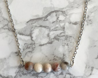 Marble Beaded Bar Necklace- Silver Chain