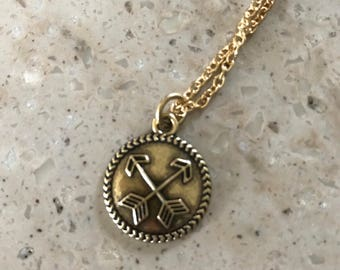 French Inspired Gold Arrows Pendant Necklace