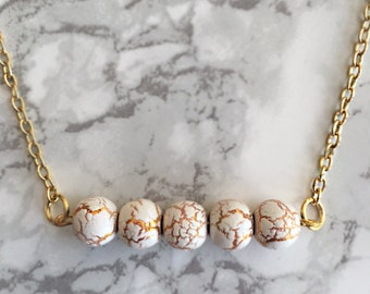 Crackled bead bar Necklace- Gold Chain- Gold & White Beads