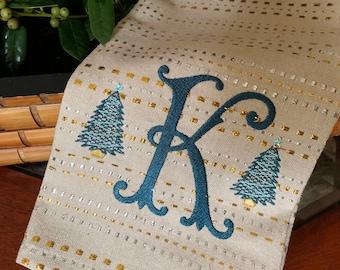 Custom Monogrammed Gold/Silver Dobby Hand/Tea Towel