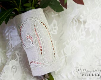Custom Monogrammed Bridal Bouquet Wrap ~ Cutwork Embroidery with Color Underlay