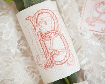 Custom Monogrammed Bridal Bouquet Wrap ~ 3-letter Monogram (Shuler Studio) ***